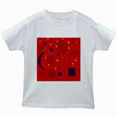 Red abstract sky Kids White T-Shirts