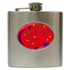 Red abstract sky Hip Flask (6 oz)