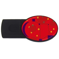 Red abstract sky USB Flash Drive Oval (1 GB)