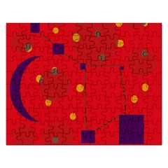 Red abstract sky Rectangular Jigsaw Puzzl