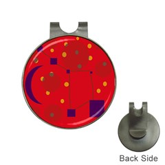 Red abstract sky Hat Clips with Golf Markers