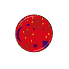 Red abstract sky Hat Clip Ball Marker (4 pack)