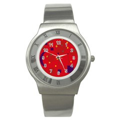 Red Abstract Sky Stainless Steel Watch