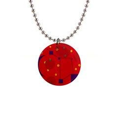 Red abstract sky Button Necklaces
