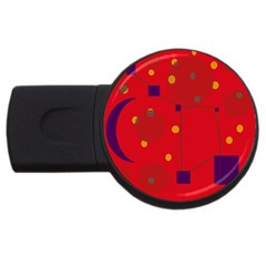 Red abstract sky USB Flash Drive Round (4 GB)