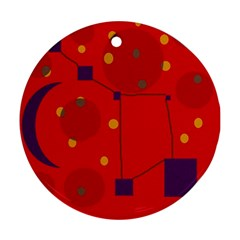 Red abstract sky Round Ornament (Two Sides)