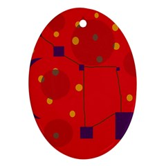 Red abstract sky Oval Ornament (Two Sides)