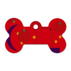 Red abstract sky Dog Tag Bone (One Side)