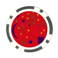 Red abstract sky Poker Chip Card Guards