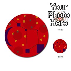 Red abstract sky Multi-purpose Cards (Round)