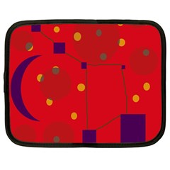 Red abstract sky Netbook Case (Large)