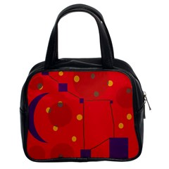 Red abstract sky Classic Handbags (2 Sides)