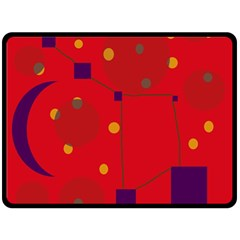 Red Abstract Sky Fleece Blanket (large)