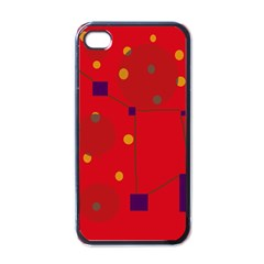 Red abstract sky Apple iPhone 4 Case (Black)