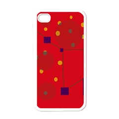 Red abstract sky Apple iPhone 4 Case (White)