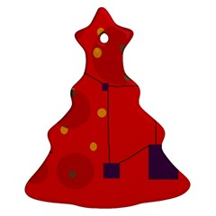 Red Abstract Sky Christmas Tree Ornament (2 Sides)