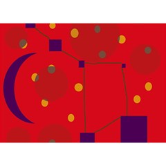 Red abstract sky Birthday Cake 3D Greeting Card (7x5)