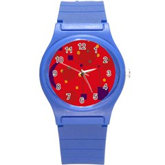 Red abstract sky Round Plastic Sport Watch (S)