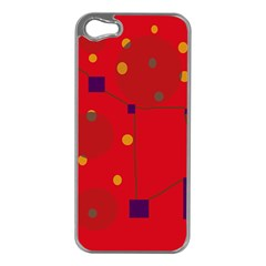 Red abstract sky Apple iPhone 5 Case (Silver)