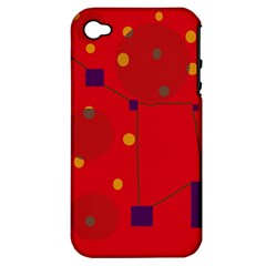 Red abstract sky Apple iPhone 4/4S Hardshell Case (PC+Silicone)