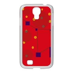 Red abstract sky Samsung GALAXY S4 I9500/ I9505 Case (White)