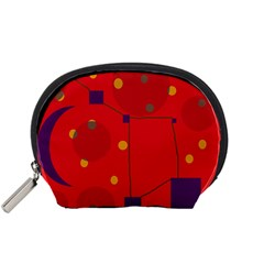 Red abstract sky Accessory Pouches (Small)