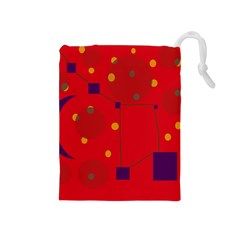 Red abstract sky Drawstring Pouches (Medium)