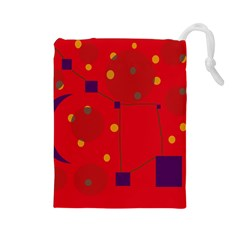 Red abstract sky Drawstring Pouches (Large)