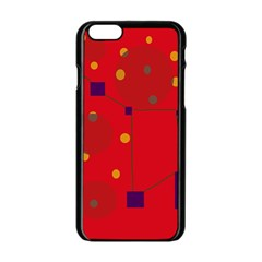 Red abstract sky Apple iPhone 6/6S Black Enamel Case