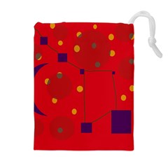 Red abstract sky Drawstring Pouches (Extra Large)