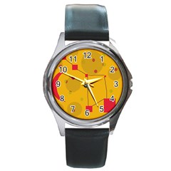 Yellow abstract sky Round Metal Watch