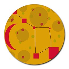 Yellow abstract sky Round Mousepads