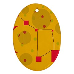 Yellow abstract sky Ornament (Oval)