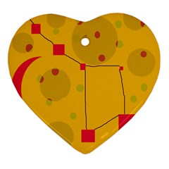 Yellow abstract sky Ornament (Heart)