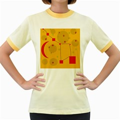 Yellow abstract sky Women s Fitted Ringer T-Shirts
