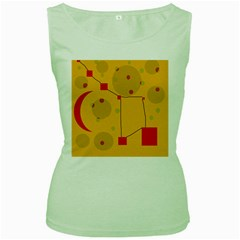 Yellow abstract sky Women s Green Tank Top