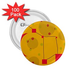 Yellow abstract sky 2.25  Buttons (100 pack)
