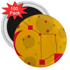 Yellow abstract sky 3  Magnets (100 pack)