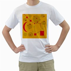 Yellow abstract sky Men s T-Shirt (White) (Two Sided)