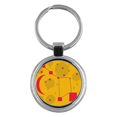 Yellow abstract sky Key Chains (Round)
