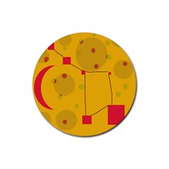 Yellow abstract sky Rubber Round Coaster (4 pack)