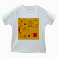 Yellow abstract sky Kids White T-Shirts