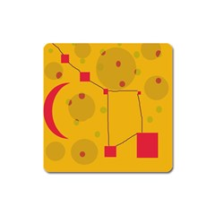 Yellow abstract sky Square Magnet