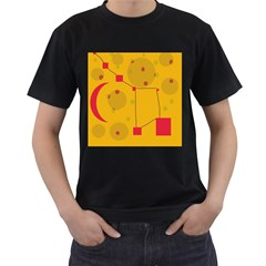 Yellow abstract sky Men s T-Shirt (Black) (Two Sided)