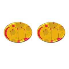 Yellow abstract sky Cufflinks (Oval)