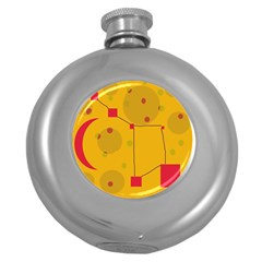 Yellow Abstract Sky Round Hip Flask (5 Oz)