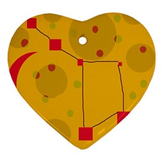 Yellow abstract sky Heart Ornament (2 Sides)