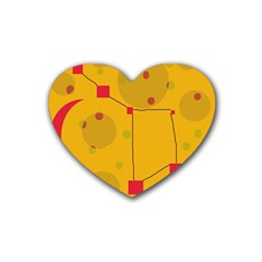 Yellow abstract sky Heart Coaster (4 pack)