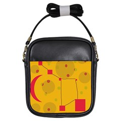 Yellow abstract sky Girls Sling Bags