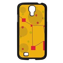 Yellow abstract sky Samsung Galaxy S4 I9500/ I9505 Case (Black)
